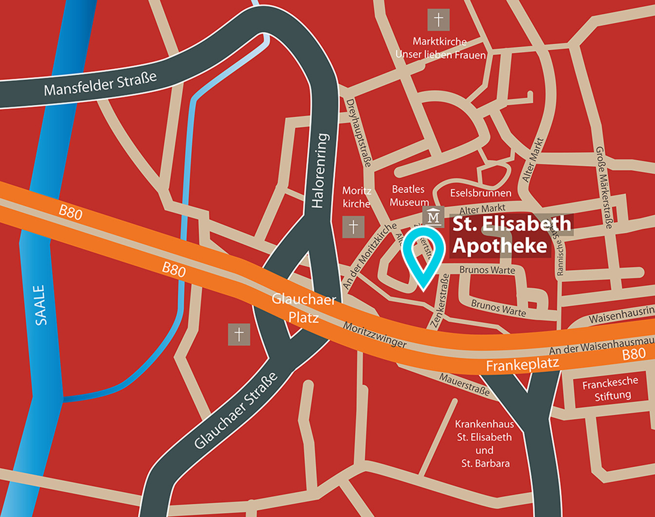 Kartenausschnitt von Halle mit Standort St. Elisabeth Apotheke Moritzzwinger 10 06108 Halle (Saale)
